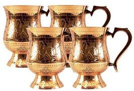 An item in the Pottery & Glass category: IndianArtVilla Handmade Set Of 4 Leaf Mughlai Dedsign Brass Beer Mug 14oz For...