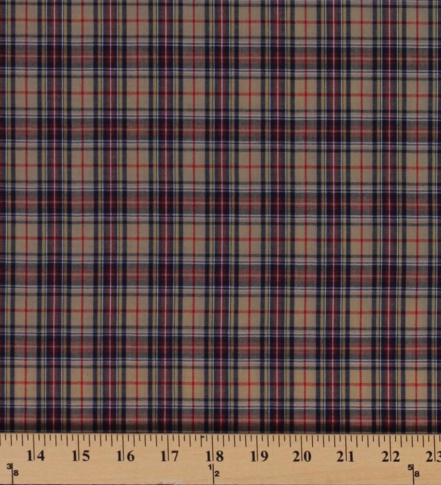 Tartan Plaids Gordon Polyester Cotton Tan Red Blue Yellow Fabric By Yard D157.15 - $7.99