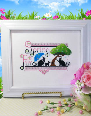 Primary image for Spring Fur cat cross stitch chart Kit & Bixby