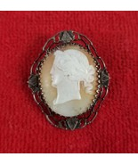 Carved Shell Cameo Brooch Pin ~ Rare Left Facing Greek Mythology Woman P... - $84.15
