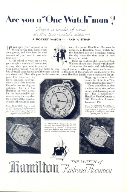 1927 Hamilton pocket watch & strap wristwatch print ad