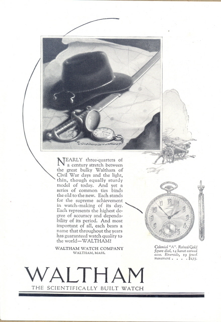 1922 Waltham Colonial A Pocket Watch hat sword print ad