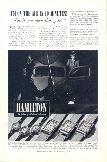 1937 Hamilton women & men's watches accuracy print ad