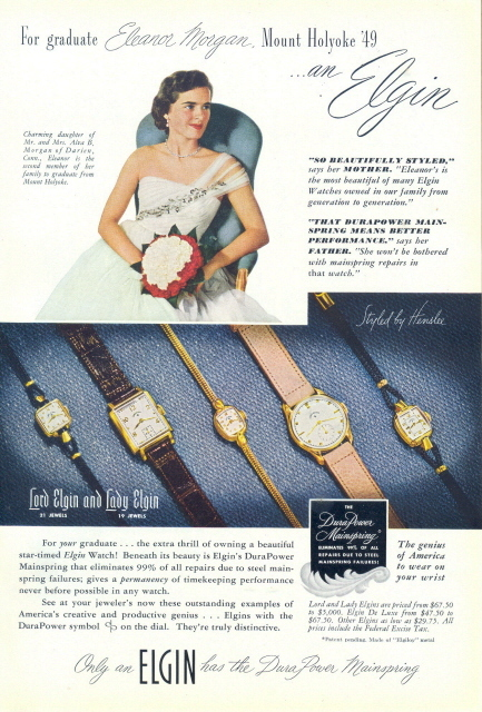 1949 Elgin DuraPower Mainspring wristwatches print ad