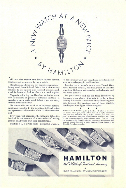 1933 Hamilton women strap wristwatches display print ad