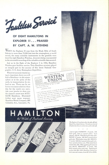 1935 Hamilton watch Explorer II balloon Expedition print ad