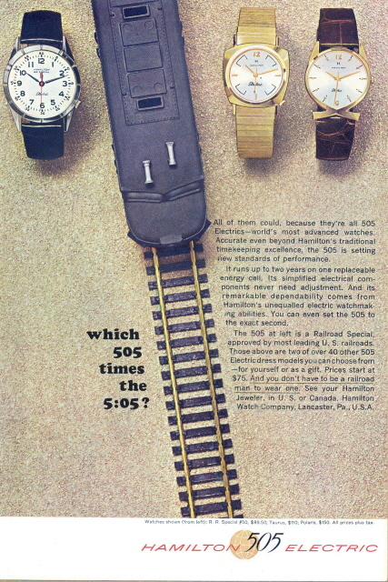 1963 Hamilton 505 Electric watches toy train track print ad