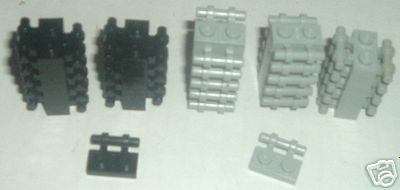 LEGO Parts lot of 50 Plate 1x2 with handle black & gray