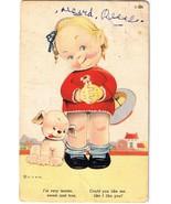 Children Comics Postcard Girl Puppy Dog Very Tender Sweet True Curteich 1937 - $3.95