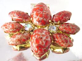Vintage Juliana D & E Coral Easter Egg Navette AB Rhinestone Brooch - $25.00