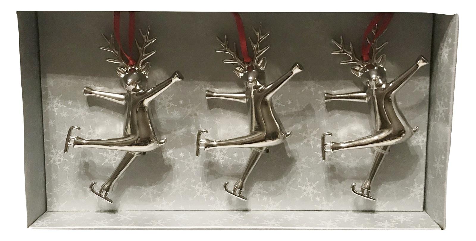 Aluminum Reindeer on Skates Trio Holiday Christmas Ornaments Set, 3 pcs