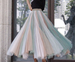 Rainbow Pleated Skirt Womens Rainbow Stripe Skirt Tulle Maxi Skirt Outfit image 9