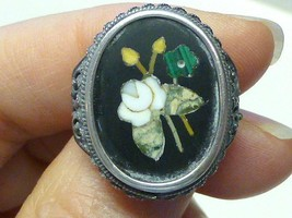 Victorian Pietra Dura Mosaic Sterling Silver Filigree Ring WHITE ROSE Si... - $49.99
