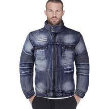 Contender Men's Distressed Multi Pocket Zip Up Cotton Denim Jean Jacket 9DJ03 image 3