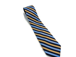 "George Men's Silk Tie GOLD AND BLUE Stripes 57"" LONG 3.5"" WIDE SILK NECK... - $12.46"