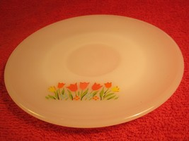 "Fire King 6"" Saucer Floral Flowers White [Z184] - $6.38"