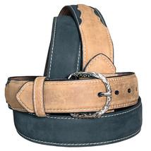 "U-9-36 36"" Nocona 1-1/2"" Wide Contrast Stiching Leather Mens Belt Black Brown - $24.95"