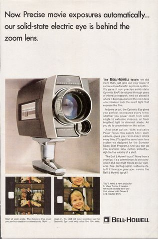 1966 Bell Howell Focus Tronic movie camera print ad