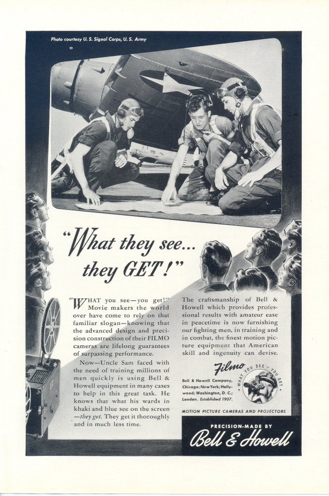 1946 Bell & Howell Filmo camera equipment airman print ad