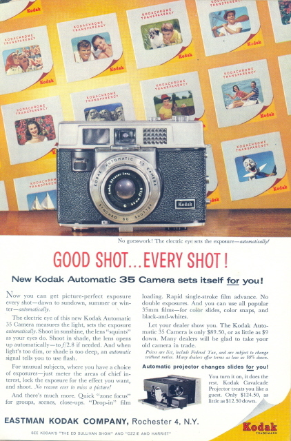 1960 Kodak Automatic 35 Camera slides print ad