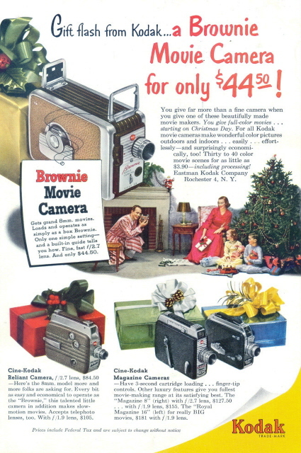1951 Kodak Brownie Movie Camera Christmas gift print ad