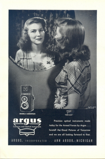 1946 Argus Argoflex Twin Lens Camera mirror shot print ad