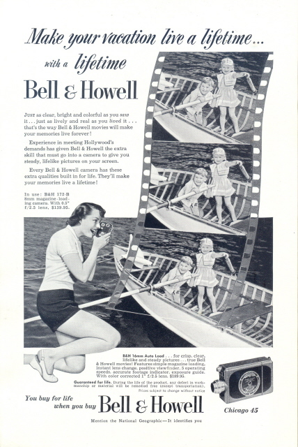 1951 Bell & Howell Movie Camera kids paddling boat print ad