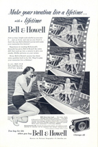1951 Bell & Howell Movie Camera kids paddling boat print ad - $10.00