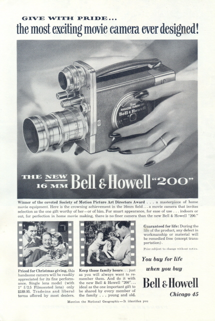 1954 Bell & Howell 200 16mm movie camera print ad