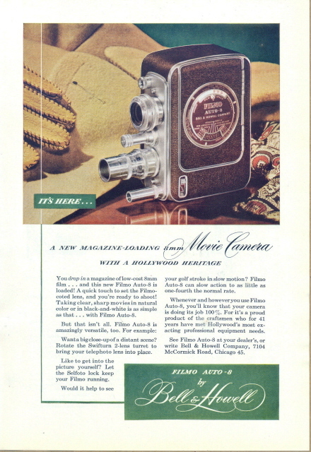 1947 Bell & Howell FILMO Auto-8 Movie Camera print ad