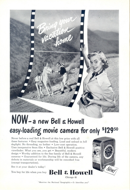 1950 Bell & Howell easy-loading Movie Camera print ad