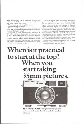 1965 Bell & Howell Canon Photographic Camera print ad