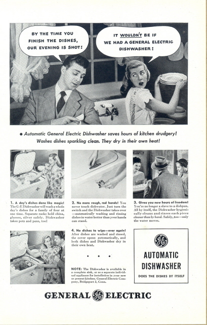 1948 GE Automatic Dishwasher couple dialogue print ad