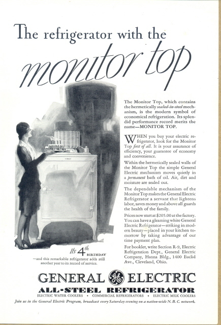 1931 GE Monitor Top Refrigerator 4th Birthday print ad