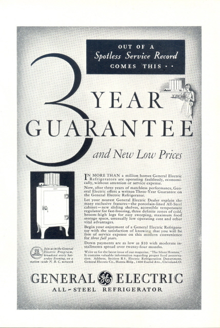 1931 GE General Electric All Steel Refrigerator print ad