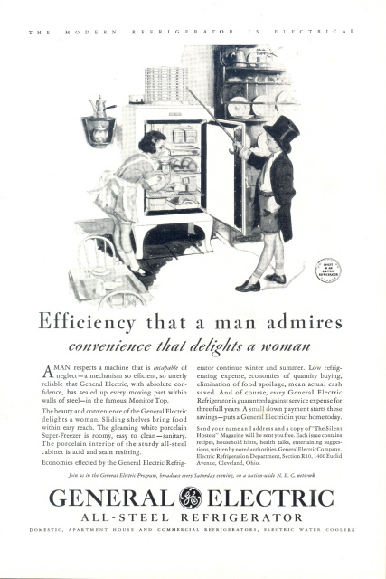 1931 GE All-Steel Monitor Top Refrigerator print ad