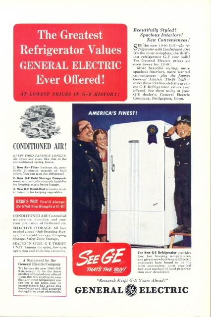 1940 GE G-E Conditioned Air Refrigerator print ad