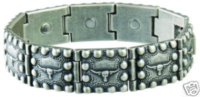 Sabona 229 Steer Head Beaded Edge Magnetic Bracelet