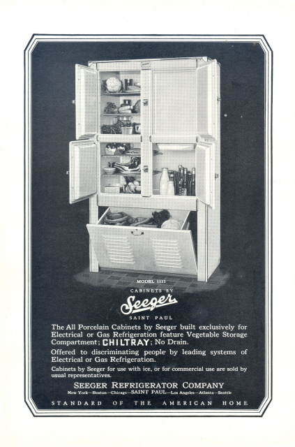 1927 Seeger Cabinet Chiltray vintage Refrigerator print ad