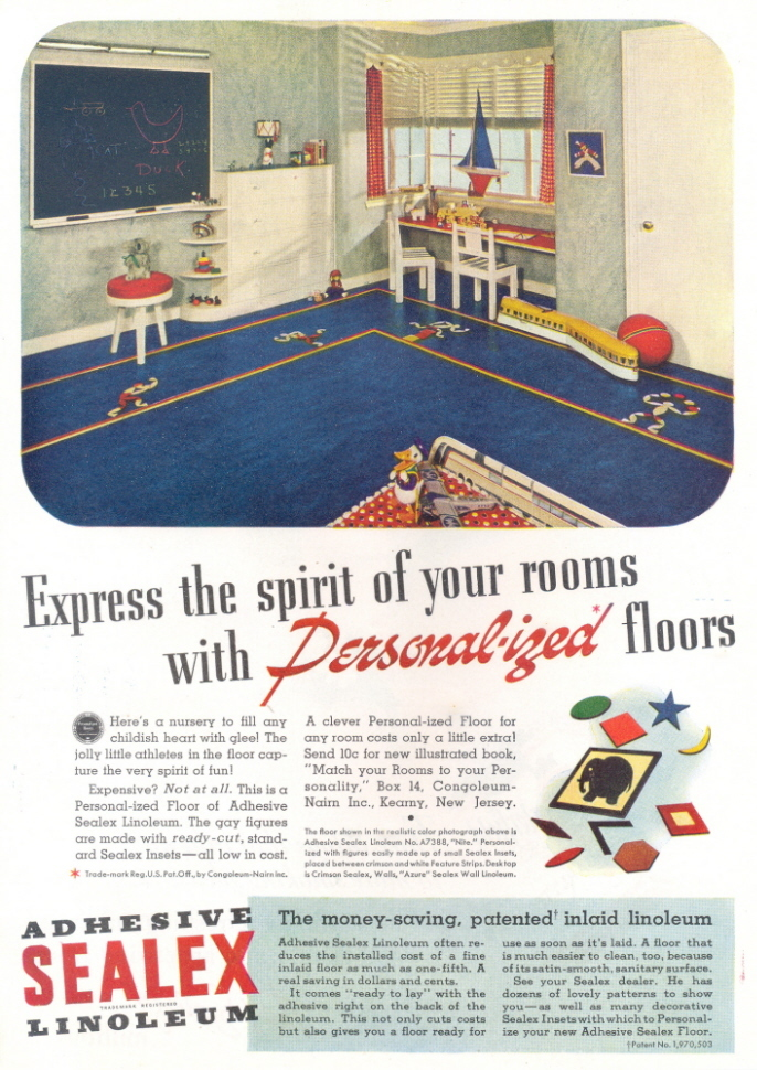 1938 Adhesive Sealex Linoleum children's room print ad