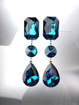 GLITZY Blue Zircon Swarovski Crystals LONG Bridal Queen Pageant Prom Ear... - £23.19 GBP