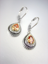 CLASSIC 18kt White Gold Plated Cable Brown Topaz CZ Tear Drop Petite Earrings - £15.19 GBP