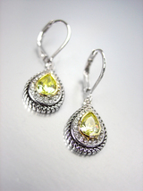 CLASSIC 18kt White Gold Plated Cable Olive Green CZ Tear Drop Petite Ear... - $19.99