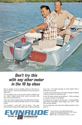1967 Evinrude Sportwin outboards motor print ad