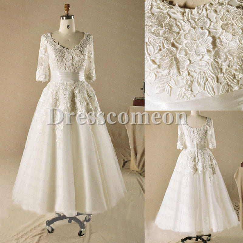 Ball gown plus size tea length with sleeves ivory lace for Ivory lace wedding dress with sleeves