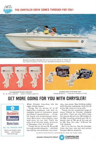 1967 Chrysler hydro vee 16' charger speed boat print ad