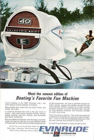 1967 Evinrude Lark outboard motor water skiing print ad