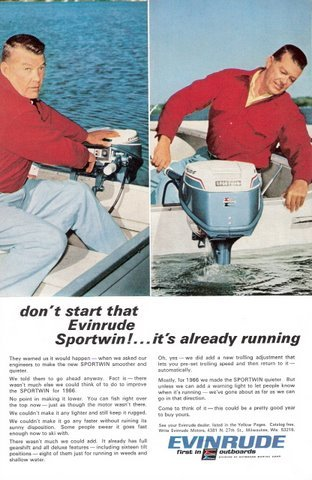 1966 Evinrude quieter Sportwin outboard motor print ad