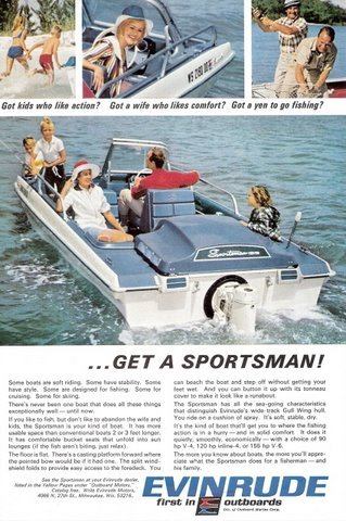 1967 Evinrude Sportsman outdoor family boat print ad