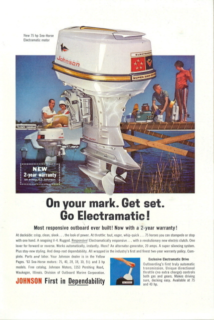 1963 Johnson Sea Horse Boat Motor print ad